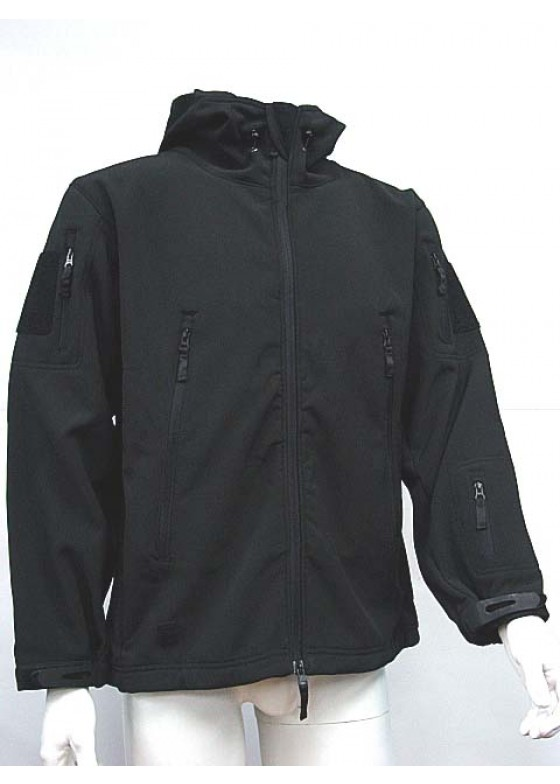 Stealth Hoodie Sharkskin Parka Soft Shell Waterproof Jacket Black