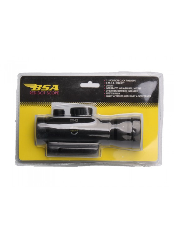 BSA 2X42 Red Dot With Mount Base In Blister Card Sight HY9023