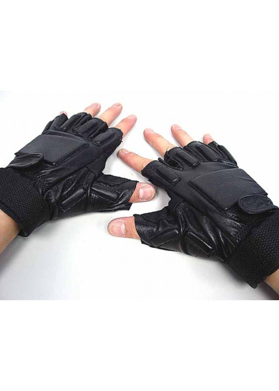 Army SWAT Half Finger Airsoft Supple Leather Combat Gloves