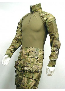Combat Shirt & Pants With Elbow And Knee Pads Frog Suit Multi Camo