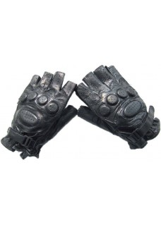 SWAT Army Half Finger Airsoft Paintball Leather Anticollision Gloves